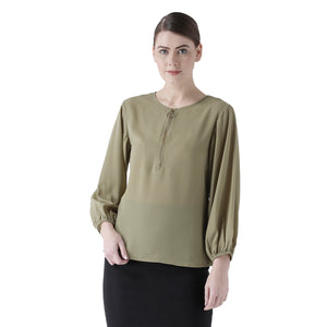 Green Solid Full Sleeves Top With Zip