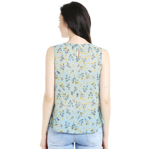 Powder Blue Floral Printed Top