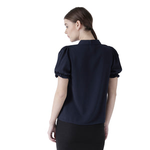 Navy Solid Shirt With Short Sleeves