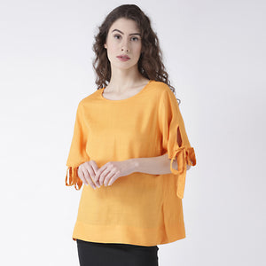 Orange Solid Top With Tie Up Half Sleeves