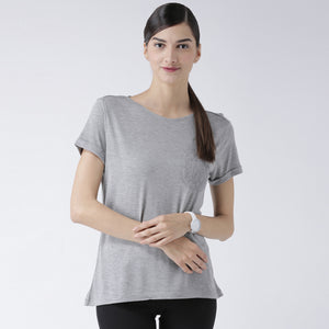 Grey Basic Solid T-Shirt With Lace Pocket