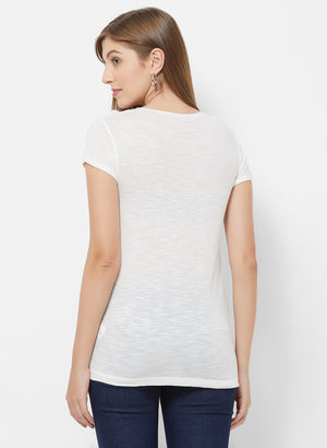 Birch Printed Basic T-Shirt With Short Sleeves