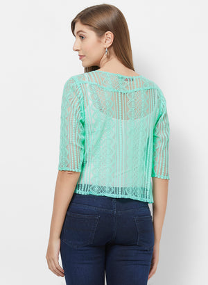 Green Lace Shrug