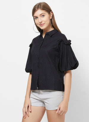 Black Shirt With Short Lantern Sleeves