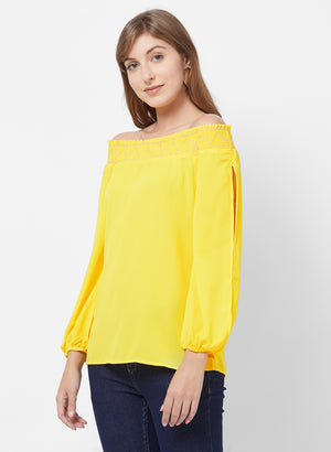 Yellow Off Shoulder Top With Slit Sleeves