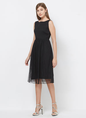 Black Boat Neck Dress