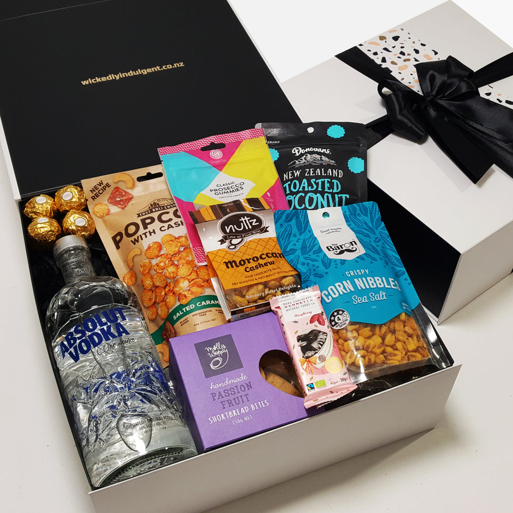 100% Chance of vodka- Absolut vodka gift basket with sweet and savoury gourmet nibbles all presented in a modern Gift Box.