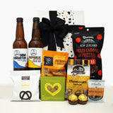 Craft Beer, chocolate, nuts and nibbles gift basket for men.