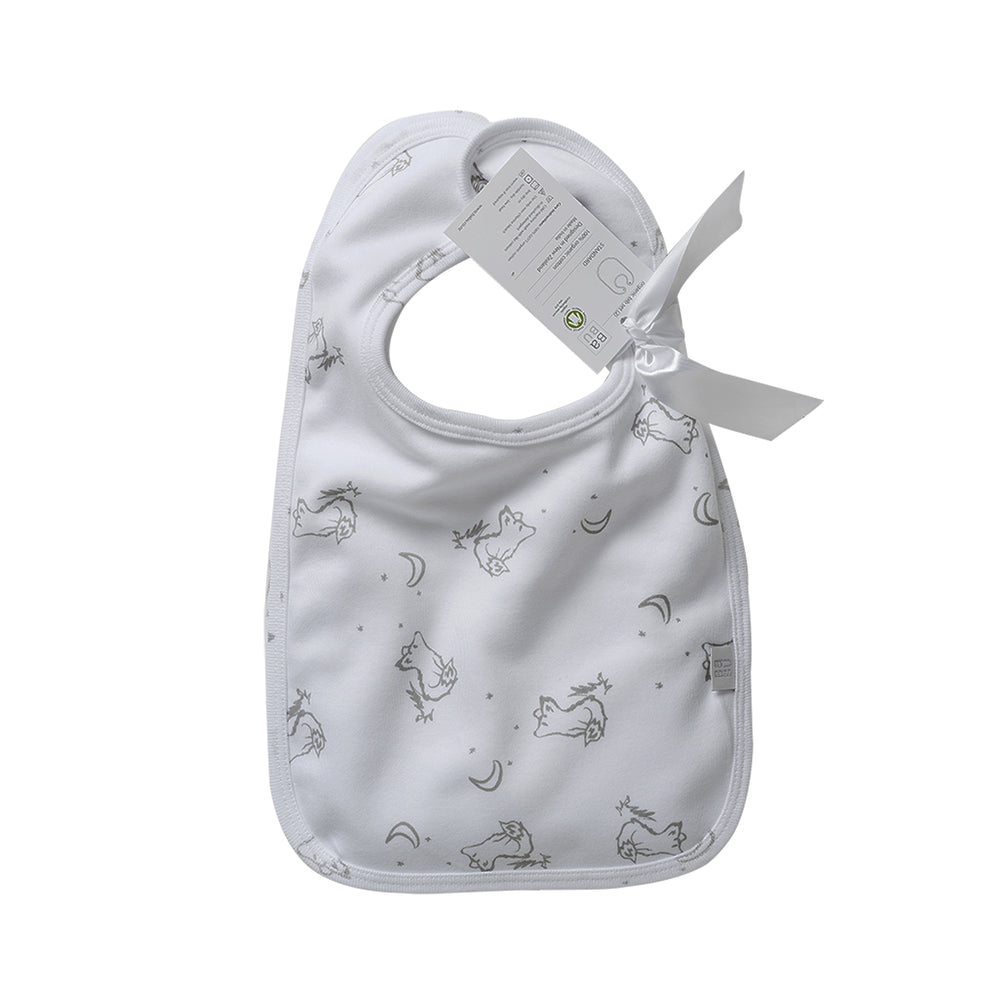 White cotton babu bib with fox pattern