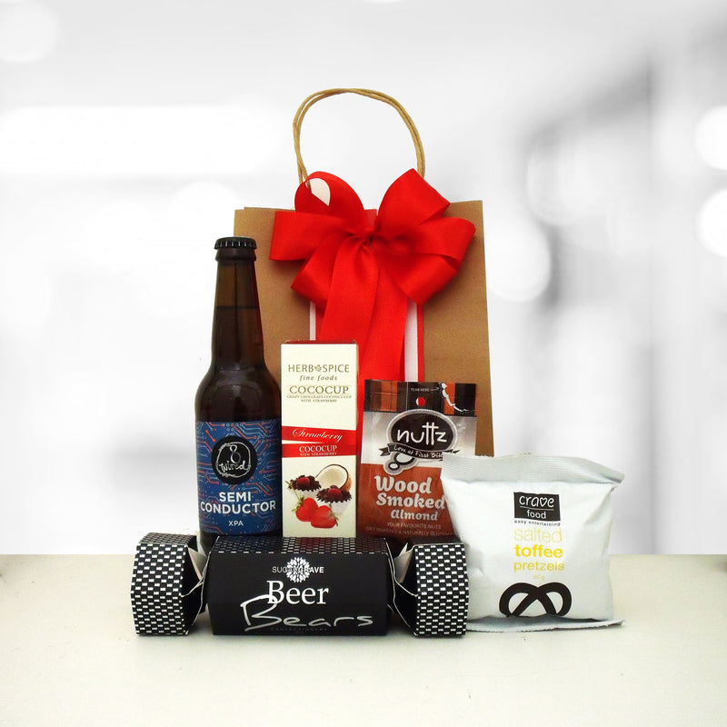 Four thirst quench gift bags with beer for men.