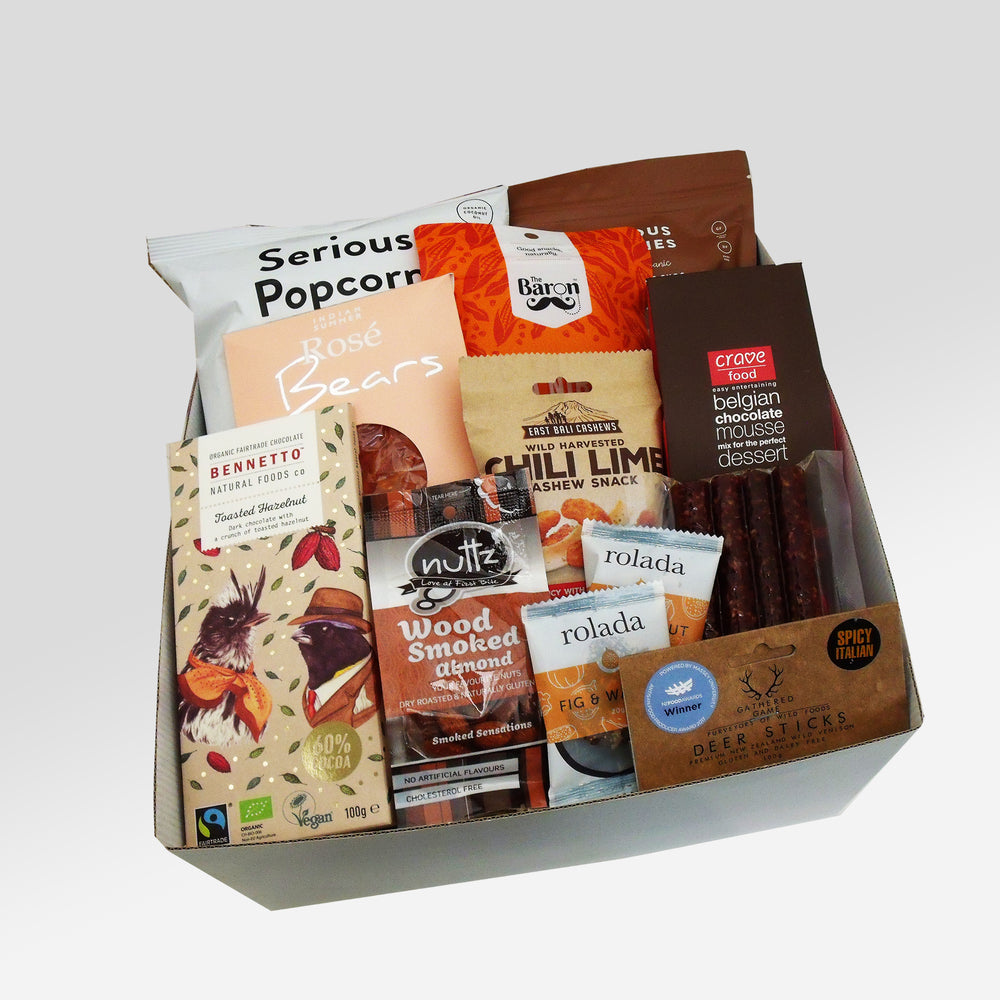 Dairy Free & Gluten Free Gift Box with chocolate, venison salami, gummies, popcorn and nuts.
