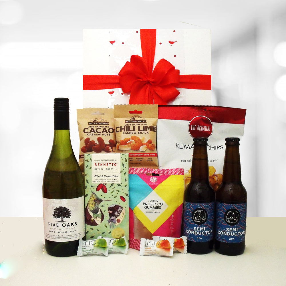 Dairy Free Christmas gift hamper with wine and beer for him and her.