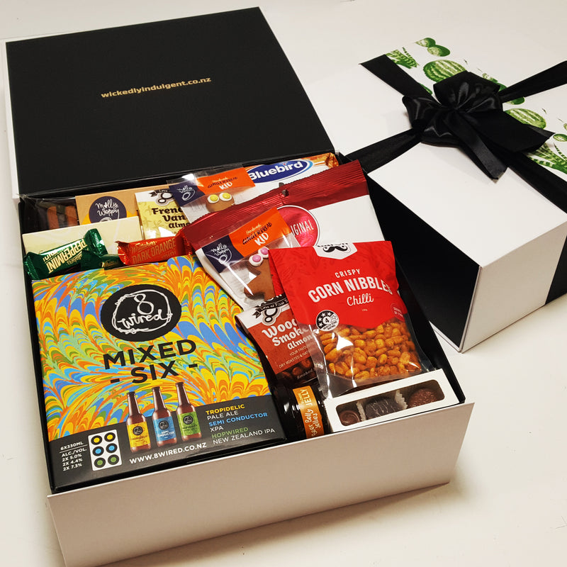 Fathers Day Gift Basket with Craft Beers, jellies, gourmet chocolate, cookies and more presented in a stunning moden gift box.