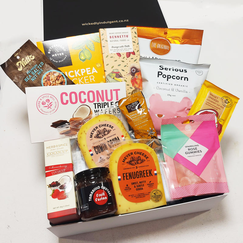 Gluten free gift basket with cheese, wine jelly, chocolate & nibbles. Presented in a modern gift box.