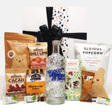 Gluten Free & Dairy Free Gift Hamper with Absolut Vodka, Chocolate & Nuts & Popcorn.