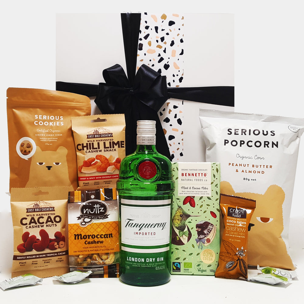 Gluten Free & Dairy Free Gift Hamper with Tanqueray Gin , Chocolate, Nuts & Popcorn.