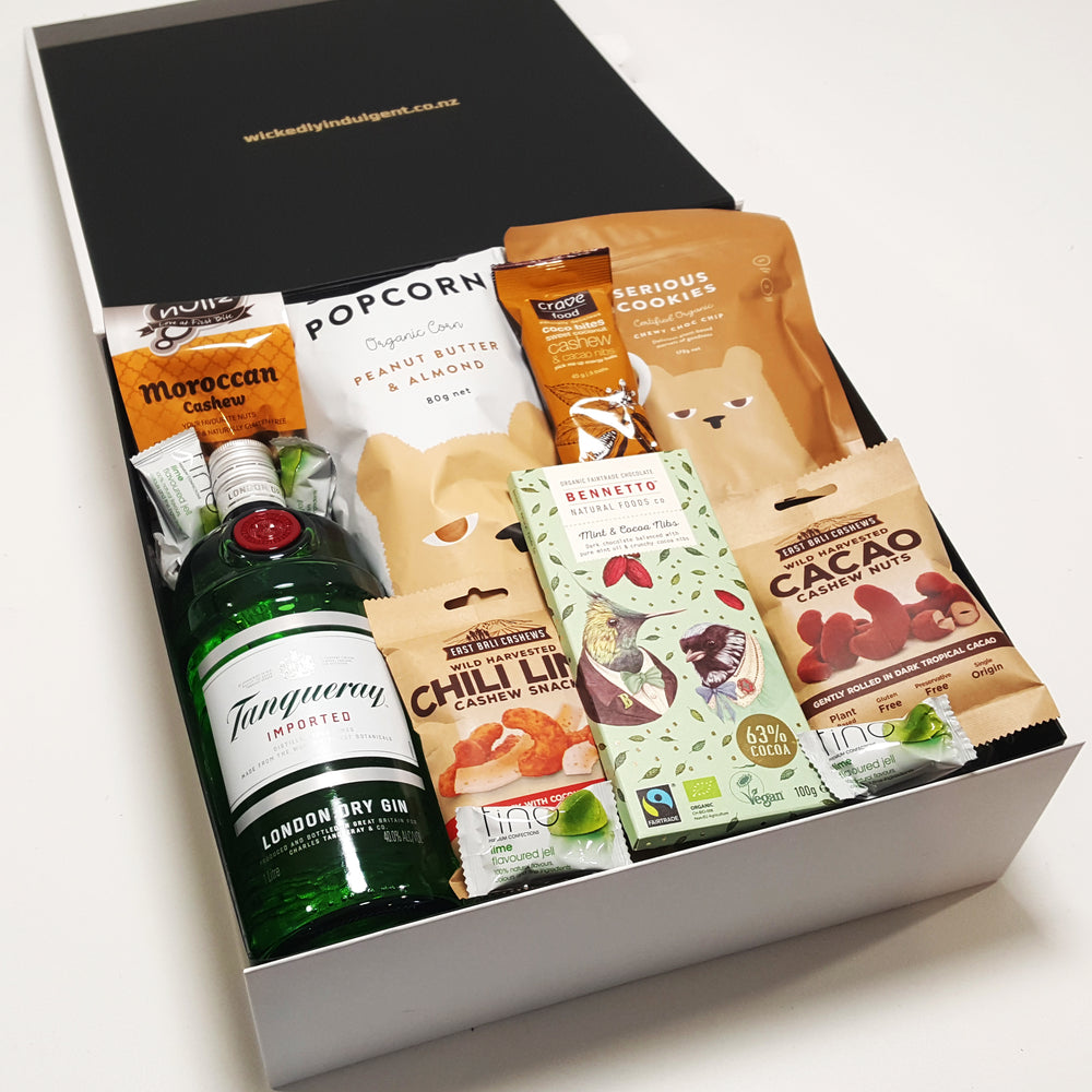 Gluten Free & Dairy Free Gift Hamper with Tanqueray Gin, Chocolate & Nuts & Popcorn.