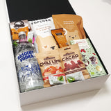 Gluten Free & Dairy Free Gift Hamper with Vodka, Chocolate & Nuts & Popcorn.