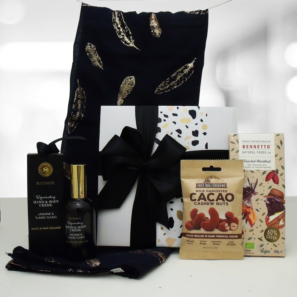 Dairy Free & Gluten Free Gift Box with a designer scarf, hand cream, cacao nuts and Hazelnut Chocolate