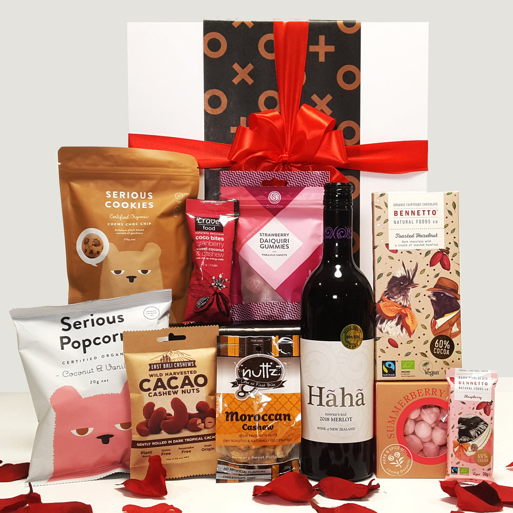 Gluten Free & Dairy Free Valentines Gift Hamper with Wine, Chocolate, Meringues & Red Rose Petals.