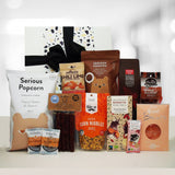 Dairy Free & Gluten Free Gift Hamper with chocolate, venison salami, gummies, popcorn and nuts.