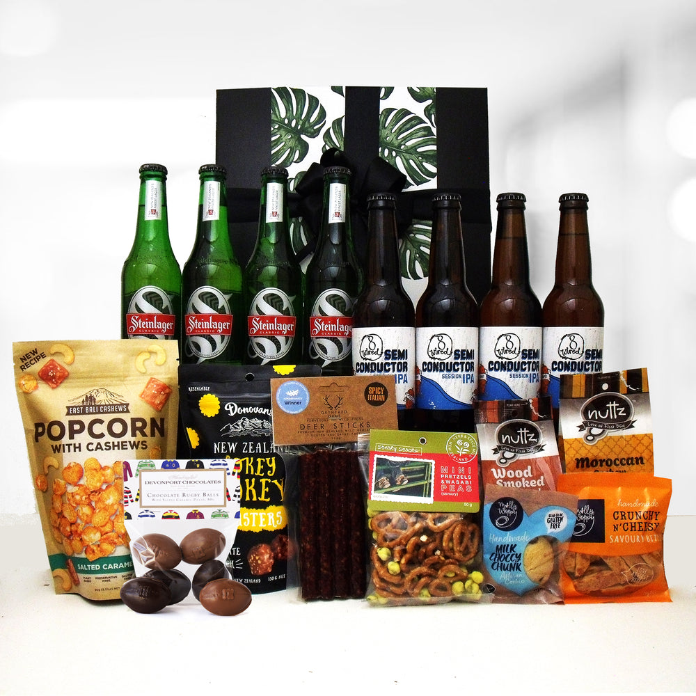 Rugby gift box with beer, venison salami, chocolate, nuts, popcorn and nibbles.
