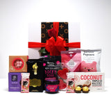 Valentines Day Gift Hamper with Bath Salts, Chocolate, Red Rose, & sweet treats presented in a modern Gift Box.