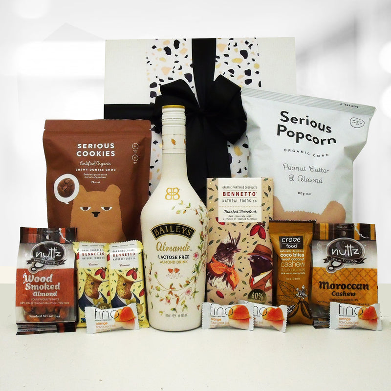 Dairy Free Bailey Almande gift box with baileys, nuts, cookies, popcorn, lollies & chocolate.