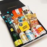 Gift Hamper with 5 different NZ ciders & delicious NZ nuts, gingerbread & chocolate, presented in a stunning gift box.