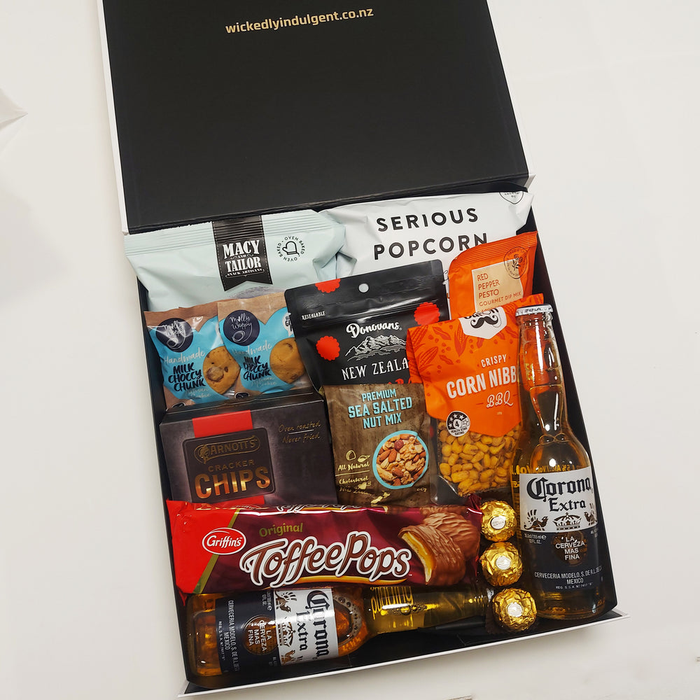 Covid Cabin Fever- Corona Beer, Nuts, Popcorn, Toffee Pops & More Gift Basket