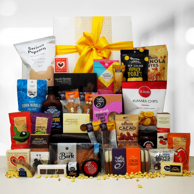 Eat.Sleep.Repeat large corporate gift hamper. Non alcoholic. cheese, jelly, gingerbread, chips, pocorn, chutney, dips, brownie and loads more.