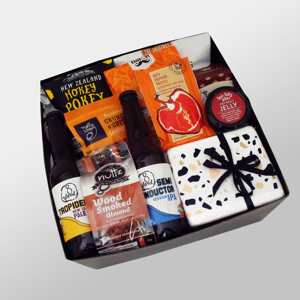 Feeling Krafty craft beer, cheese and nibble gift hamper presented in a modern gift box