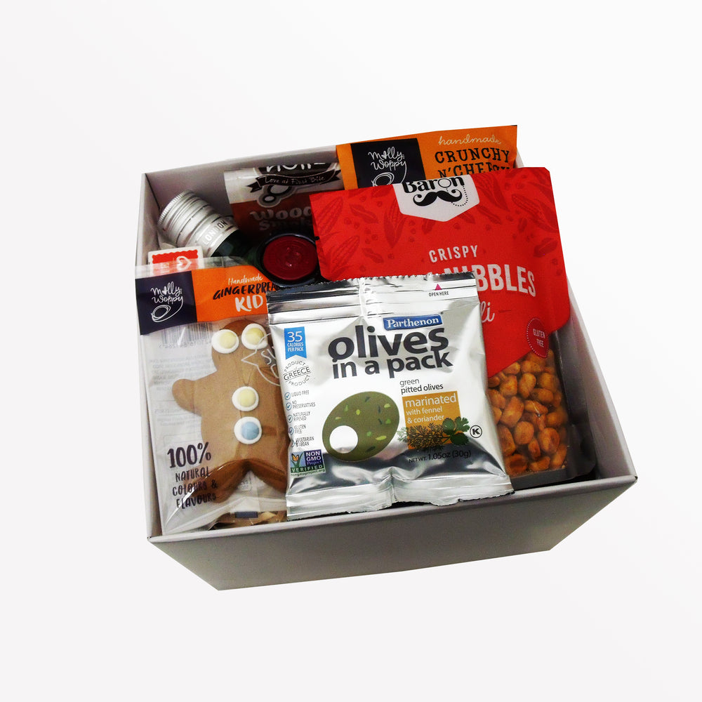 Fill the Tanq up with Tanqueray- Gin Gift Basket with olives, cheesy sticks, nuts and sweets.