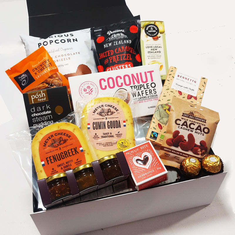 Valentines Day Gift Basket with Cheese, Chutney & Chocolate presented in a modern Gift Box.