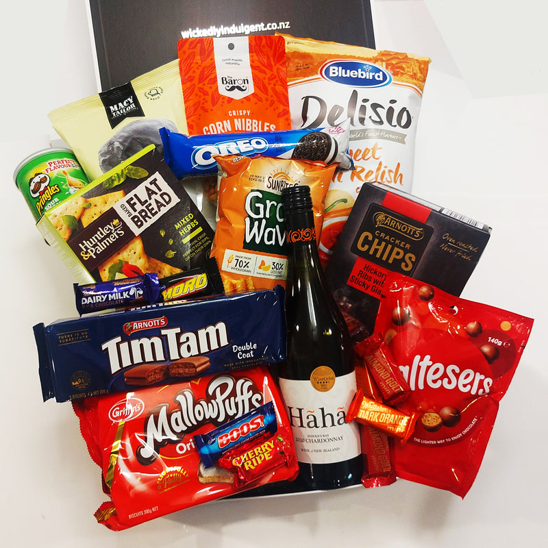 Fridays on the Mind Gift Basket with Wine, Chips, tim Tams, Mallowpuffs, Maltesers, whittaker and cadbury chocolate and more presented in a modern Gift Box.