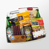 The game on rugby gift box with beer, pickles, popcorn, chips, venison salami, rugby ball chocolates and more.