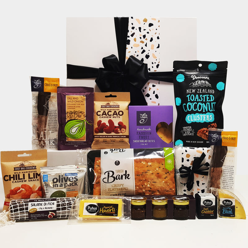 Get in my belly gourmet gift box with cheese, fig chutneys, fig salami, nuts, chocolate and shortbread.