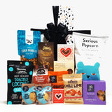 Guilty Pleasures gift basket with sweet and savoury treats all presented in a modern gift box.