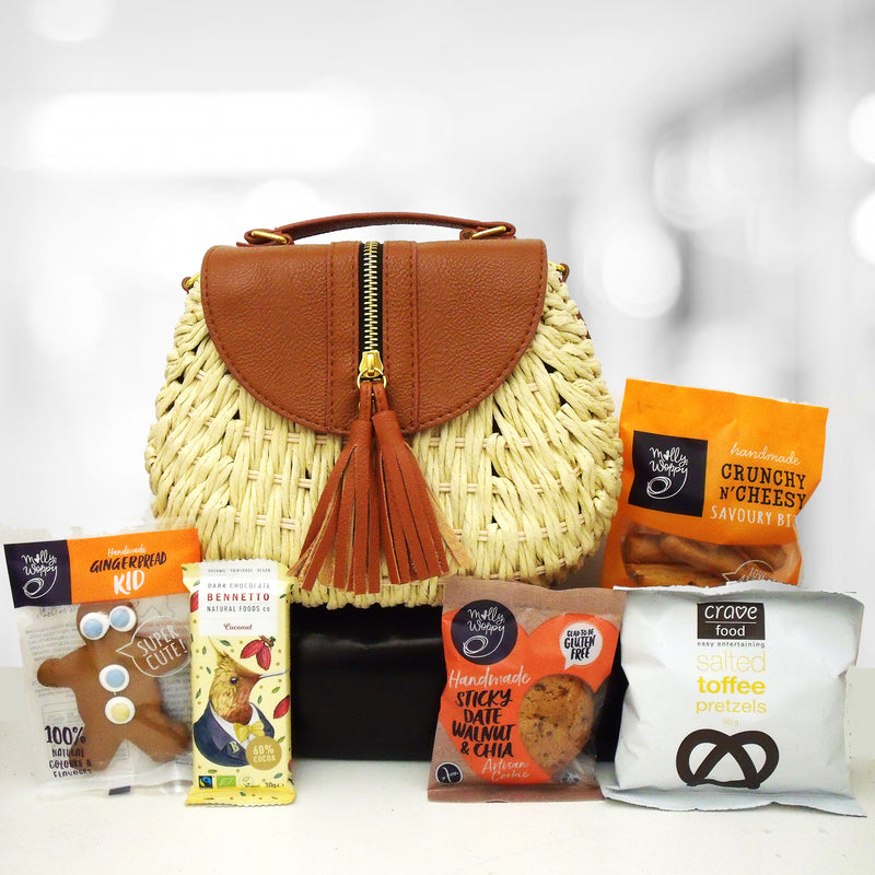 Summer Vibes- Hand Bag, Chocolate, Cookie & Pretzels