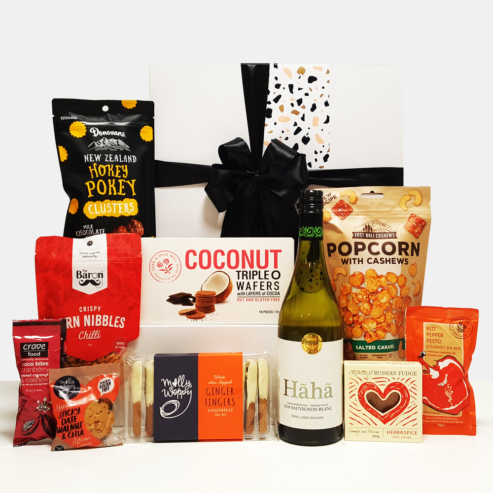 Happy Hour Gift Basket with wine, biscuits, chocolate, fudge and nibbles presented in a modern gift box.
