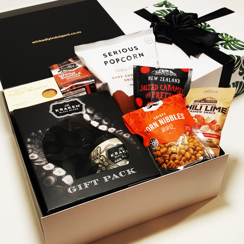 Father Day Kraken Rum Gift Pack with ice cube tray & nibbles.