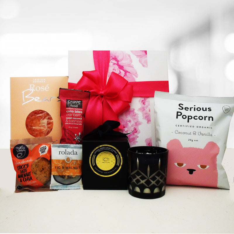 Little Luxuries gift box with candle and Gluten Free sweet treats.