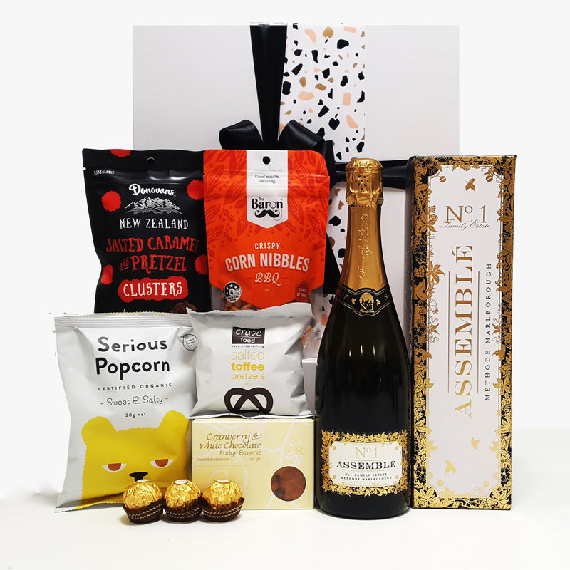 Make it Pop champagne gift basket and nibbles.