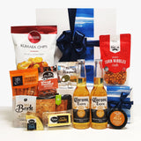 Man cave Gift Basket for Him with Corona Beers, Cheese, Crackers, & Savoury Snacks presented in a Modern Gift Box.