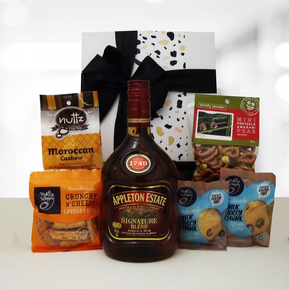 Appletons Rum gift hamper, rum and nibbles in a gift box.