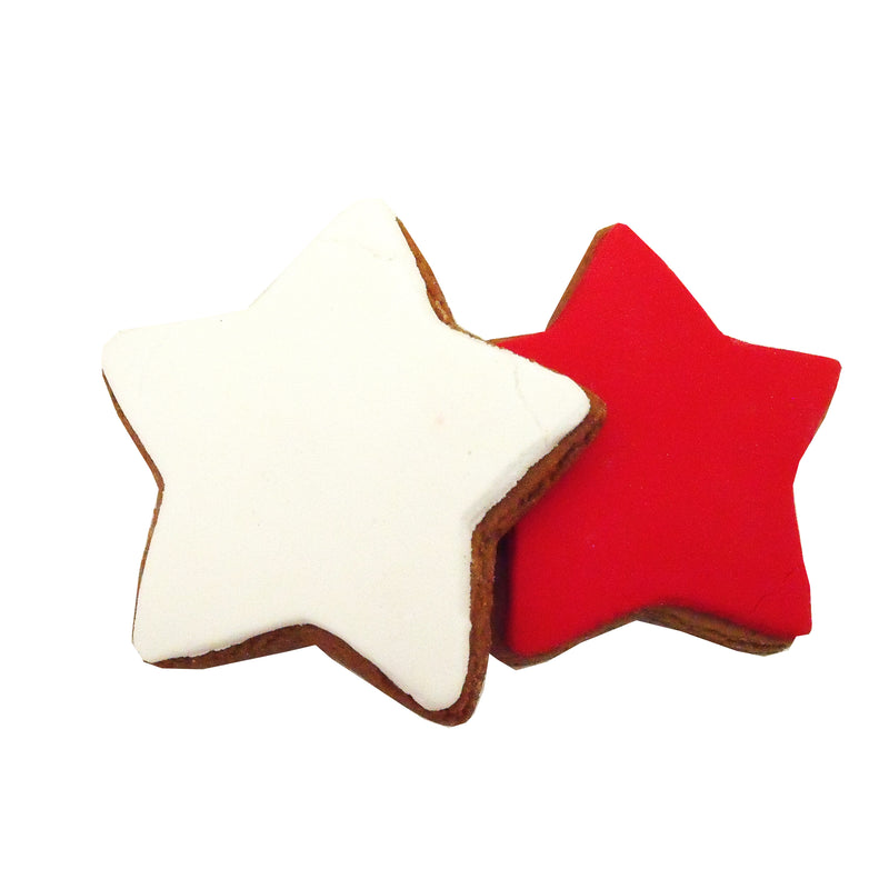 Molly woppy red & white iced Xmas shortbread stars