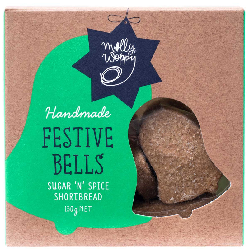 Molly Woppy Sugar N Spice Shortbread Bells 130g