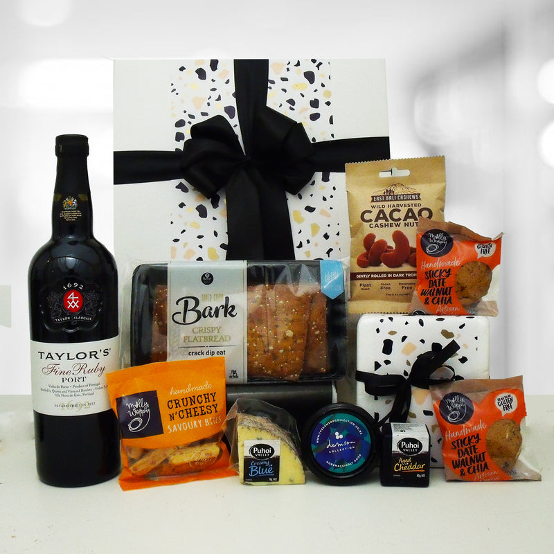 Port & Cheese Gift Box with port, cheese, plum paste, nuts and cookies.
