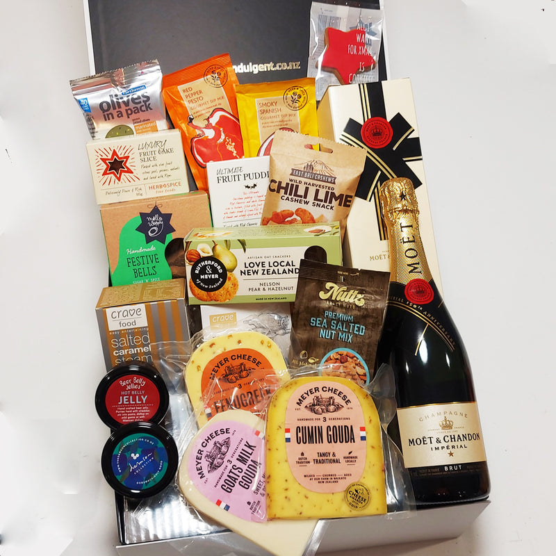 Rockin around the Xmas tree gourmet gift hamper with cheese & Moet presented in a modern gift box.