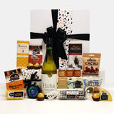 Savour the Flavour gift basket with wine, cheese & condiments beautifully presented in a modern gift box.